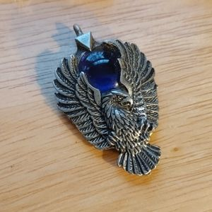 Eagle pendant with blue glass ball